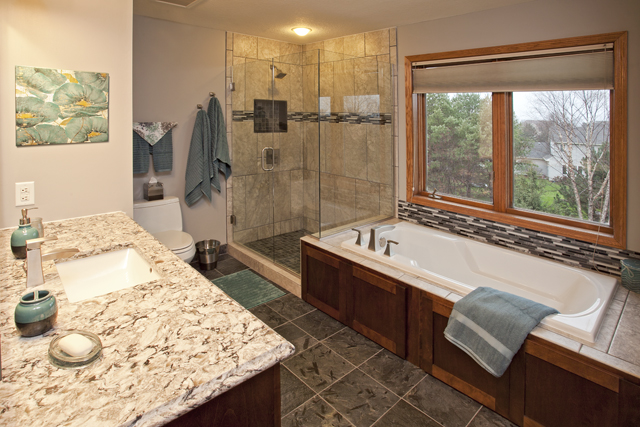 Master Bath Remodel With Heated Quartzite Floors Spacemakers Remodeling